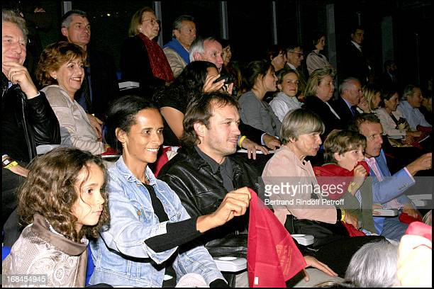 Vincent Perez wife Karin Sylla and their Fille Robert Namias and Anne Barrere Patrick Poivre D' Arvor wife and son Ben Hur show at the French stadium