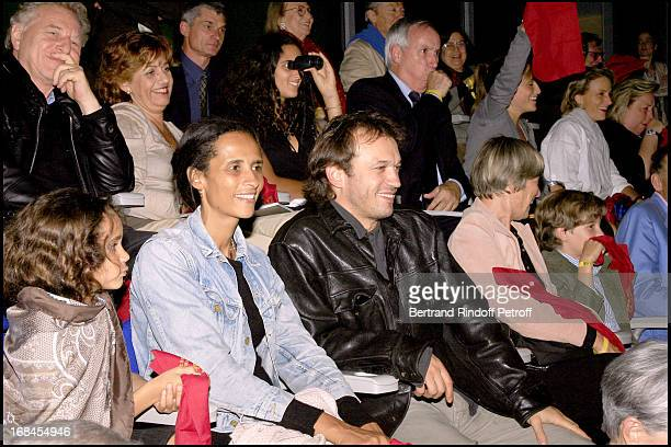 Vincent Perez wife Karin Sylla and their Fille Robert Namias and Anne Barrere Mrs Patrick Poivre D' Arvor Ben Hur show at the French stadium