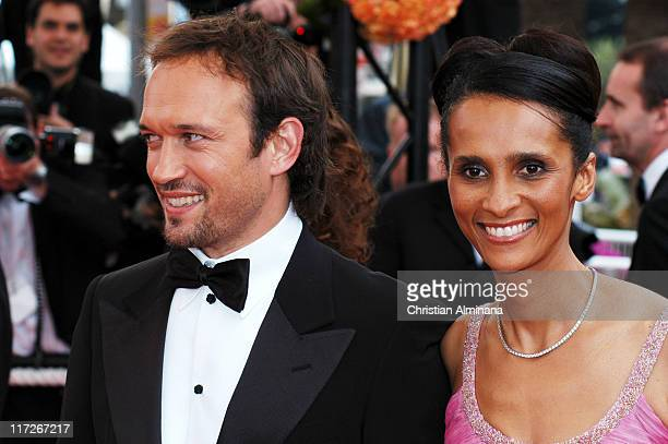 Vincent Perez with wife during 2004 Cannes Film Festival The Bad Education Opening Night Premiere at Palais Du Festival in Cannes France