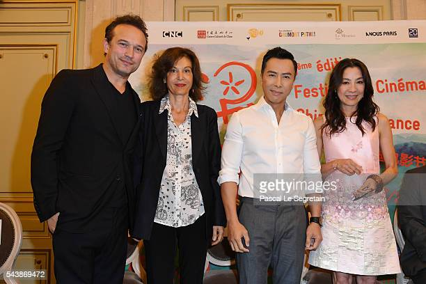 Vincent PerezAnne FontaineDonnie Yen and Michelle Yeoh attend the 6th Chinese Film Festival Press Conference at Hotel Meurice on June 30 2016 in...