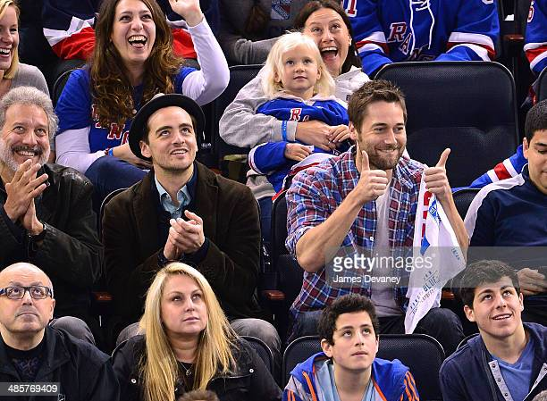 Vincent Piazza and Ryan Eggold attend the Philadelphia Flyers vs New York Rangers playoff game at Madison Square Garden on April 20 2014 in New York...