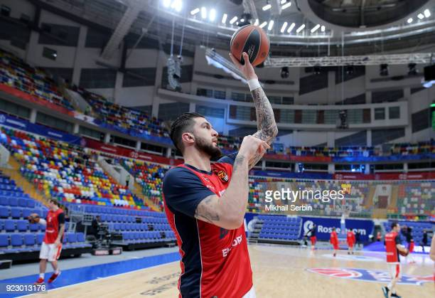 Vincent Poirier #17 of Baskonia Vitoria Gasteiz before the 2017/2018 Turkish Airlines EuroLeague Regular Season Round 23 game between CSKA Moscow and...
