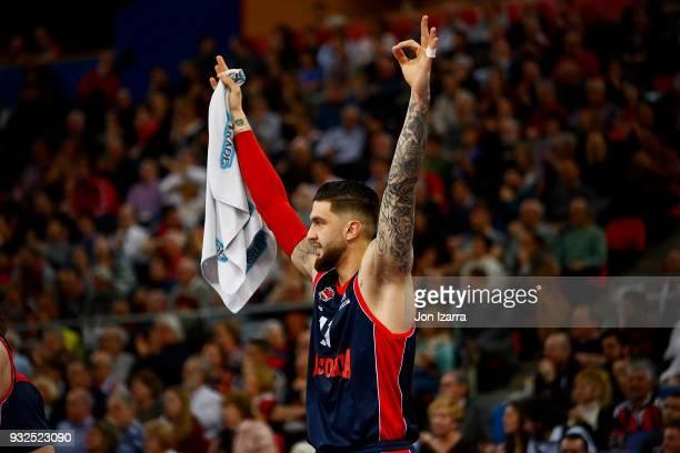 GASTEIZ SPAIN MARCH Vincent Poirier #17 of Baskonia Vitoria Gasteiz celebrates during the 2017/2018 Turkish Airlines EuroLeague Regular Season Round...
