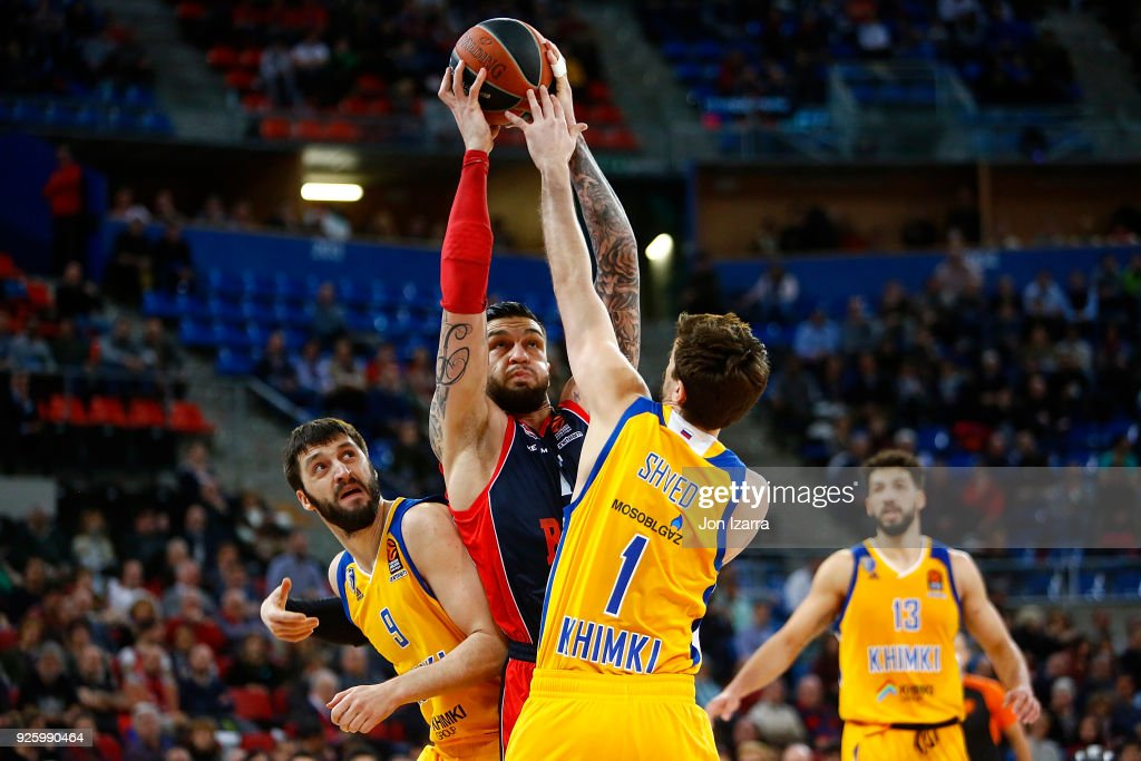 Vincent Poirier, #17 of Baskonia Vitoria Gasteiz in action during the 2017/2018 Turkish Airlines EuroLeague Regular Season Round 24 game between Baskonia Vitoria Gasteiz and Khimki Moscow Region at Fernando Buesa Arena on March 1, 2018 in Vitoria-Gasteiz, Spain.