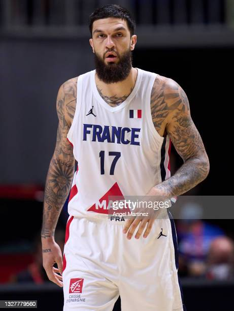 Vincent Poirier of France looks on during an international basketball friendly match between Spain and France at Martin Carpena Arena on July 08,...