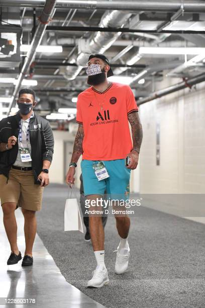Vincent Poirier of the Boston Celtics arrives for the game against the Miami Heat in Game three of the Eastern Conference Finals of the 2020 Playoffs...