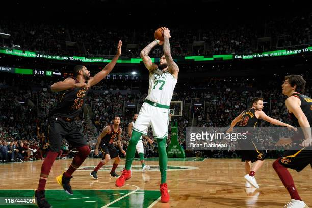Vincent Poirier of the Boston Celtics shoots the ball during the game against the Cleveland Cavaliers on December 9, 2019 at the TD Garden in Boston,...