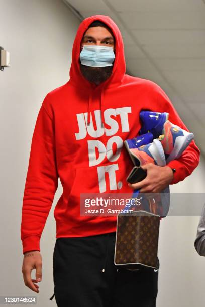 Vincent Poirier of the Philadelphia 76ers arrives to the arena before a preseason game against the Boston Celtics on December 15, 2020 at the Wells...