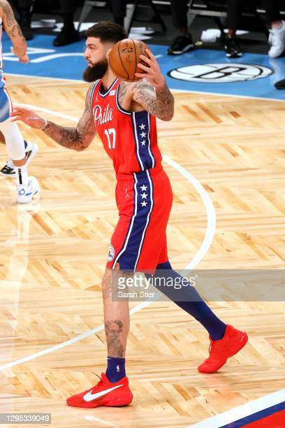 Vincent Poirier of the Philadelphia 76ers dribbles during the second half against the Brooklyn Nets at Barclays Center on January 07, 2021 in the...