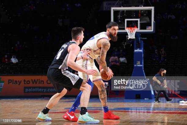 Vincent Poirier of the Philadelphia 76ers handles the ball during the game against the San Antonio Spurs on March 14, 2021 at the Wells Fargo Center...