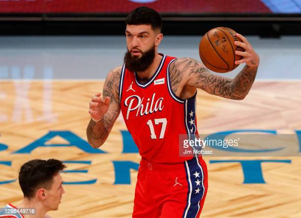 Vincent Poirier of the Philadelphia 76ers in action against the Brooklyn Nets at Barclays Center on January 07, 2021 in New York City. The Nets...