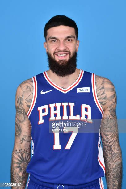Vincent Poirier of the Philadelphia 76ers poses for a head shot on Content Day on December 9, 2020 at the Philadelphia 76ers Training Complex in...