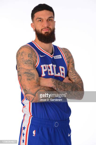 Vincent Poirier of the Philadelphia 76ers poses for a portrait during NBA Content Day at the 76ers Training Facility on December 9, 2020 in Camden,...