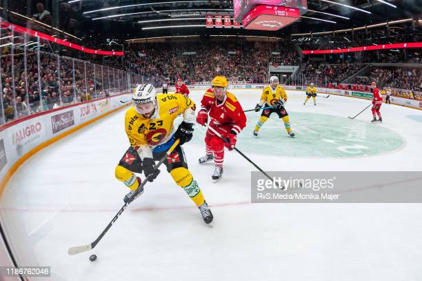 Vincent Praplan of SC Bern in action during the Swiss National League game between Lausanne HC and SC Bern at Vaudoise Arena on December 6, 2019 in...