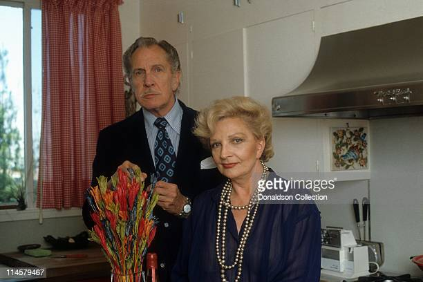 Vincent Price, Wife Coral Browne pose for a portrait in circa 1985 in Los Angeles, California.