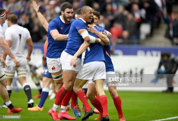 Vincent Rattez of France celebrates with teammate Gael Fickou after going over to score a try during the 2020 Guinness Six Nations match between...