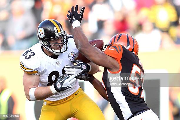 Vincent Rey of the Cincinnati Bengals breaks up a pass intended for Heath Miller of the Pittsburgh Steelers during the second quarter at Paul Brown...