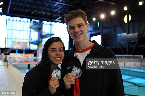 Vincent Riendeau and Meaghan Benefito of Canada win Silver in the Mixed 10m Synchro Final during Day Three of the FINA Diving Grand Prix at Centre...