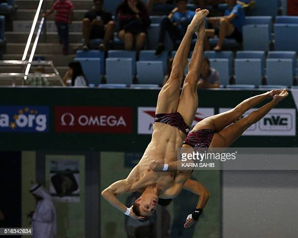 Vincent Riendeau and Meaghan Benfeito of Canada compete in the Mixed 10m Synchro Platform during day two of the 2016 FINA/NVA Diving World Series at...