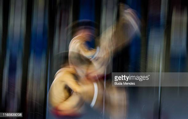Vincent Riendeau and Nathan Zsombor-Murray of Canada competes in Men's Synchronised Diving 10m Platform Finalon Day 7 of Lima 2019 Pan American Games...
