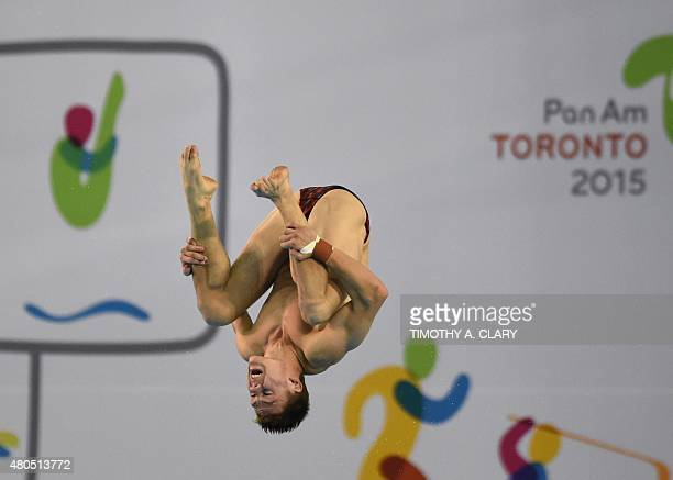 Vincent Riendeau of Canada competes during the Men's 10m Platform Preliminary during the Toronto 2015 Pan American Games in Toronto Canada July 12...