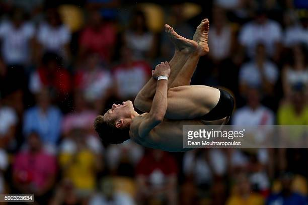 Vincent Riendeau of Canada competes during the Men's Diving 10m Platform semifinal on Day 15 of the Rio 2016 Olympic Games at the Maria Lenk Aquatics...