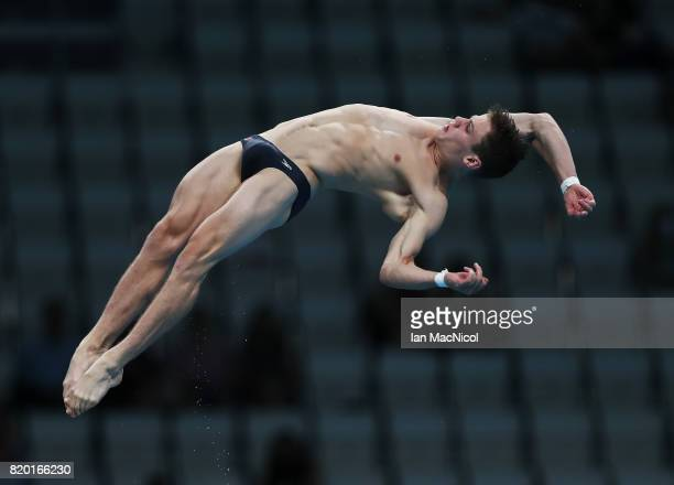 Vincent Riendeau of Canada competes in the 10m Platform at the Duna Arena on day eight of the FINA World Championships on July 21 2017 in Budapest...