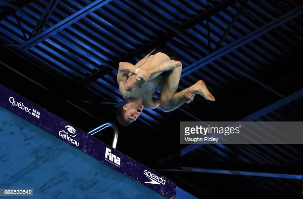 Vincent Riendeau of Canada competes in the Men's 10m Final during Day Three of the 2017 Canada Cup/FINA Diving Grand Prix at Centre Sportif de...