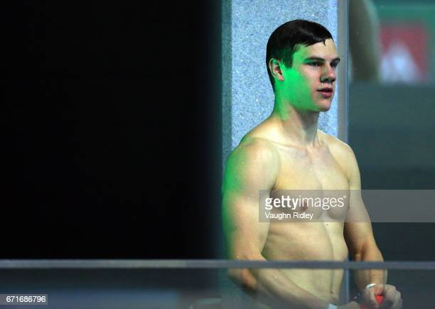 Vincent Riendeau of Canada during training prior to the 2017 FINA Diving World Series at the Windsor International Aquatic and Training Centre on...
