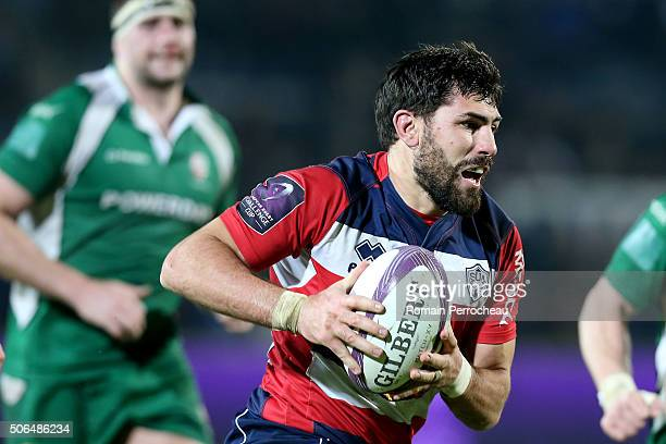 Vincent Roux for Agen in action during the European Rugby Challenge Cup match between Agen and London Irish at stade Armandie on January 23 2016 in...