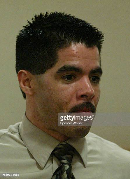 Vincent Sanchez leaves Courtroom for Lunch break Monday July 21 2003 Closing arguments began in the murder trial of Vincent Sanchez in Ventura County...