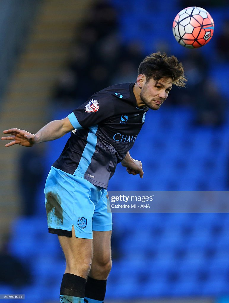 Vincent Sasso of Sheffield Wednesday during the Emirates FA Cup match between Shrewsbury Town and Sheffield Wednesday at New Meadow on January 30, 2016 in Shrewsbury, England.