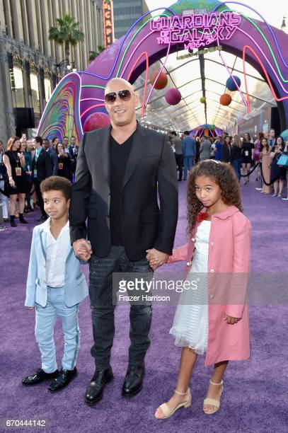 Vincent Sinclair actor Vin Diesel and Hania Riley Sinclair at the premiere of Disney and Marvel's Guardians Of The Galaxy Vol 2 at Dolby Theatre on...