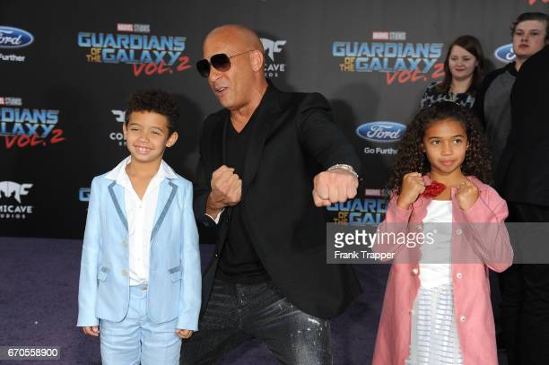 Vincent Sinclair actor Vin Diesel and Hania Riley Sinclair attend the premiere of Disney and Marvel's Guardians Of The Galaxy Vol 2 at the Dolby...