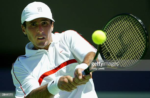 Vincent Spadea of the USA in action against Jurgen Melzer of Austria in the AAPT Championships at Memorial Drive January 5 2004 in Adelaide Australia