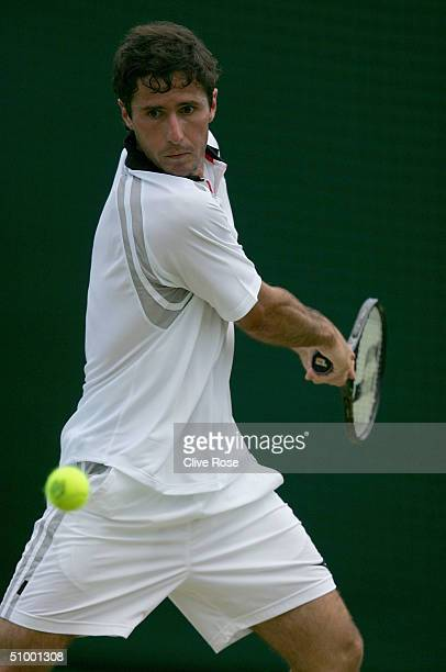 Vincent Spadea of USA in action during his third round match against Rainer Schuettler of Germany at the Wimbledon Lawn Tennis Championship on June...