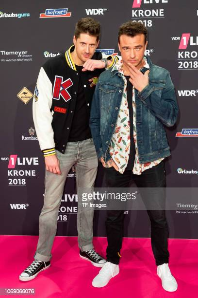 SDP Vincent Stein and DagAlexis Kopplin attend the 1Live Krone radio award at Jahrhunderthalle on December 6 2018 in Bochum Germany