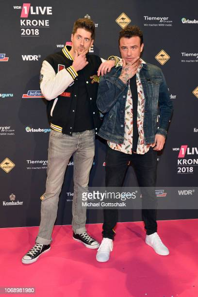 Vincent Stein and DagAlexis Kopplin of 'SDP' attend the 1Live Krone radio award at Jahrhunderthalle on December 6 2018 in Bochum Germany