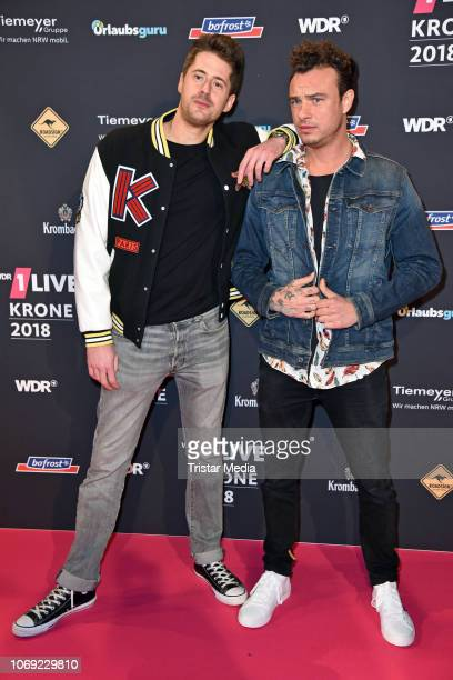 Vincent Stein and DagAlexis Kopplin of the band SDP arrive at the 1Live Krone radio award red carpet at Jahrhunderthalle on December 6 2018 in Bochum...