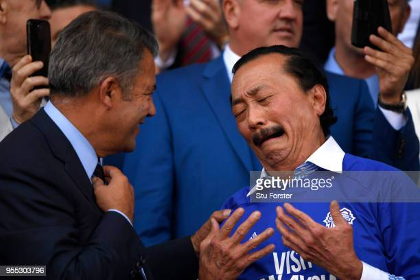 Vincent Tan Cardiff City owner and Mehmet Dalman Cardiff City chairman celebrate their team gaining promotion to the premier leauge after the Sky Bet...