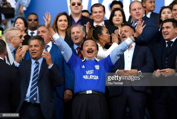 Vincent Tan Cardiff City owner celebrates his team gaining promotion to the premier leauge after the Sky Bet Championship match between Cardiff City...