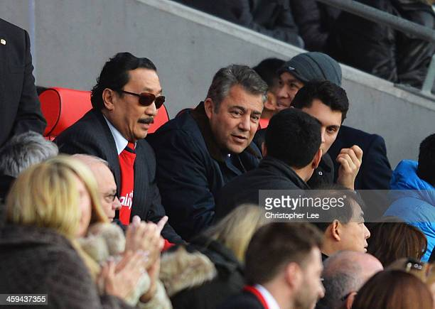 Vincent Tan owner of Cardiff City talks with Chairman Mehmet Dalman during the Barclays Premier League match between Cardiff City and Southampton at...