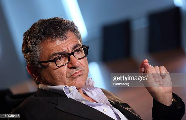 Vincent Tchenguiz, chairman of Consensus Business Group Ltd., speaks during a Bloomberg Television interview at his offices in London, U.K., on...