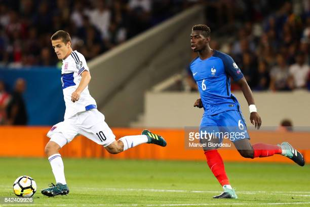 Vincent Thill of Luxembourg and Paul Pogba of France during the Fifa 2018 World Cup qualifying match between France and Luxembourg at on September 3...