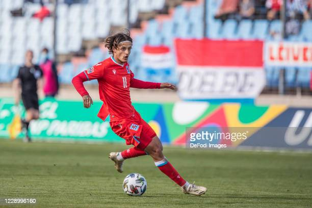 Vincent Thill of Luxembourg controlls the ball during the UEFA Nations League group stage match between Luxembourg and Cyprus at Stade Josy Barthel...