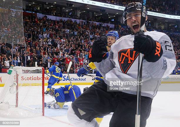 Vincent Trocheck of Team North America celebrates his first period goal against Henrik Lundqvist of Team Sweden at the World Cup of Hockey tournament...