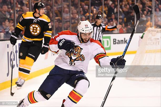 Vincent Trocheck of the Florida Panthers celebrates a goal against the Boston Bruins at the TD Garden on March 24 2016 in Boston Massachusetts