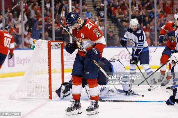 Vincent Trocheck of the Florida Panthers celebrates after scoring a goal against the Winnipeg Jets during the third period at BBT Center on November...