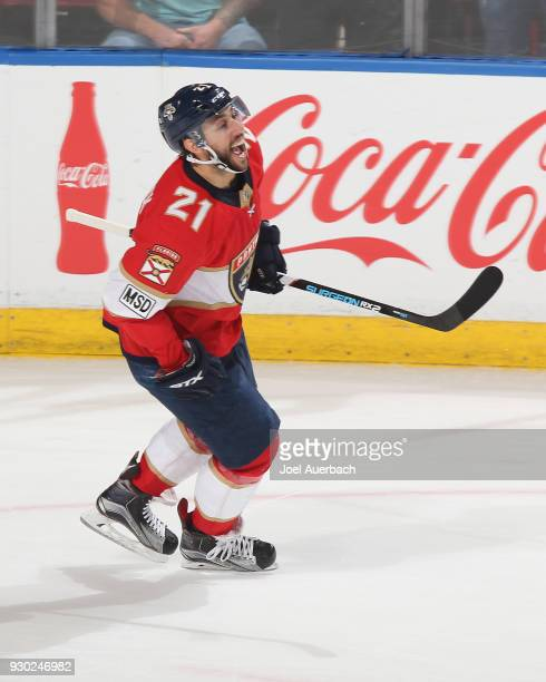 Vincent Trocheck of the Florida Panthers celebrates after scoring the game winning goal in the shootout against the New York Rangers at the BBT...