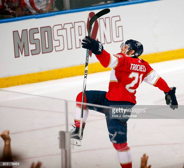 Vincent Trocheck of the Florida Panthers celebrates his game winning goal against the Washington Capitals at the BBT Center on February 22 2018 in...